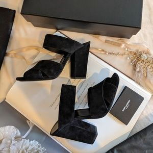 NWT Saint Laurent Jodie Suede Block-Heel Sandals